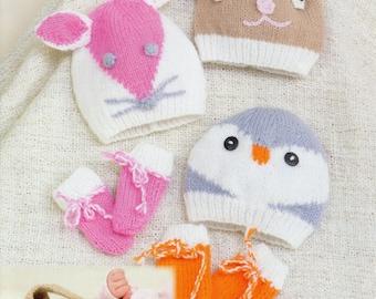 animal hats and mittens dk knitting pattern 99p pdf