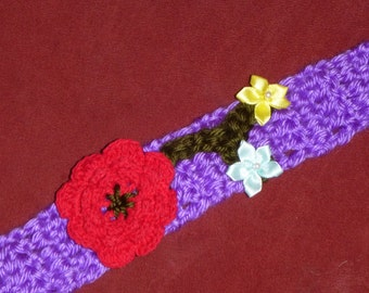 """FLOWERS Crochet Dog COLLAR NECKLACE Pet- Unique - Made to order - up to 14"""" neck"""