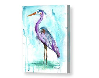 BLUE HERON PRINT | Baby Shower | Heron Painting | Bird Prints | Beach Art | Bird Art | Coastal Decor | Coastal Wall Art | Beach Wall Decor