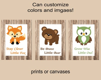 Woodland nursery wall decor woodland animals birch trees nursery wall decor grow wise little owl stay clever little fox owl nursery decor