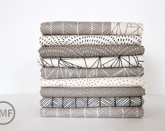Catnip Natural and Grey Fat Quarter Bundle, 9 Pieces, Gingiber, 100% Cotton, Moda Fabrics, 48230
