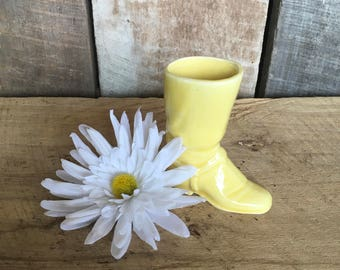 Vintage ceramic boot yellow boot decor holder retro western horse cowboy gift vase ceramic