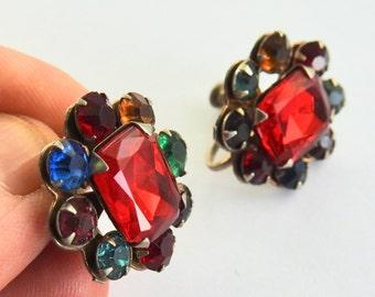Deco Fruit Salad Rhinestone Earrings