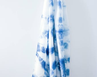 Shibori Indigo Silk Scarf, 100% Silk