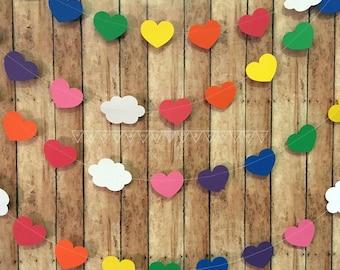 Rainbow Heart Garland, Rainbow Cloud Banner, Rainbow Bedroom Decor, Rainbow Birthday Party, Rainbow Theme Party, Personalized Birthday Decor