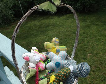 Basket of Hand Sewn Flowers