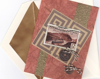 Mixed Media Vintage Stamp Note Card