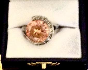 Pale orange cz ring
