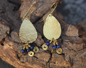 Hammered brass and lapis lazuli drop earrings