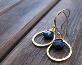Sundrop - Lapis Earrings - Semi Precious Stone and Brass Teardrop Earrings - Artisan Tangleweeds Jewelry
