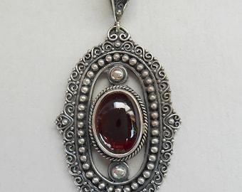 Balinese Sterling Silver Garnet Cabochon  Pendant / silver 925 / unique handmade jewelry / (#154p)