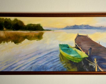 Original oil painting on canvas with frame, Summer landscape painting, Boat painting, Original lake painting, Landscape oil painting