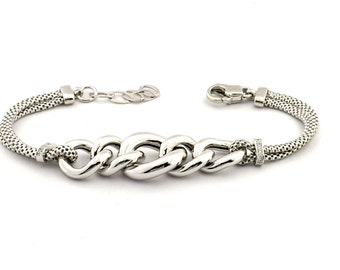 Bracelet with two wire mesh and central chain 925 sterling silver plated white gold hypoallergenic adjustable length 16 cm 19 cm