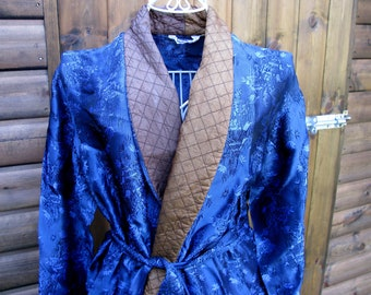 Satin Robe, Smoking Jacket, Dressing Gown, Vintage Mens Robe, Vintage Smoking Jacket, Robe Dressing Gown, Dressing Gown, Blue Smoking Jacket
