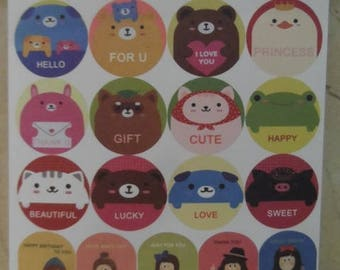 """1 sheet of stickers stickers collection """"happy"""" 10 x 13 cm"""