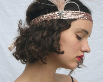 Great Gatsby Costume-Gatsby Dress-Flapper Dress-Gold Headpiece-Tocado Boda-Headband-Flapper Headband