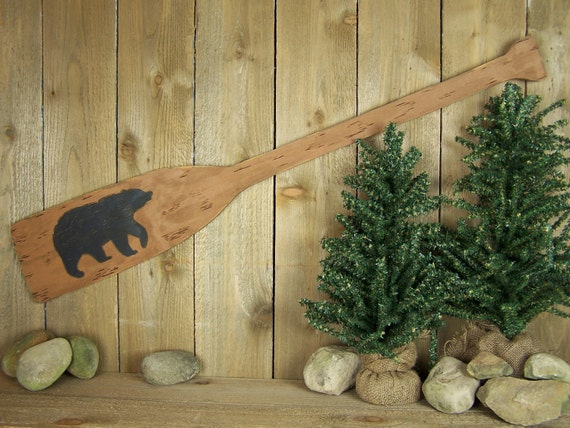 Wooden Oar Wall Decor Rustic Bear Decor Black Bear Art Wood