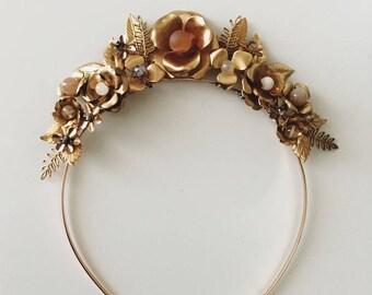 Wildflower crown #1505, all brass