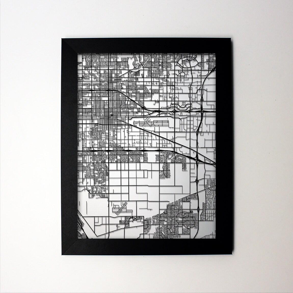 Mapa de Spring / mapa del corte del Laser / Ontario CA / arte