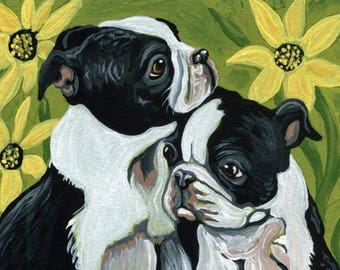 ACEO ATC Boston Terrier Puppies in the Garden Original Gouache Painting Pet Dog Art-Carla Smale