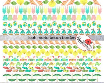 Leah Maria Beach Borders: Digital Clipart (300 dpi) Seashells Bathing Suits Turtles Crabs Flip Flops Beach Balls