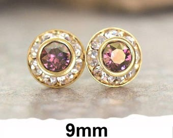 9mm Purple studs, Lilac Shadow & Gold Earrings, Swarovski, Rhinestone Stud Earrings, Purple Halo Studs,