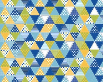 """Riley Blake Summer Celebration Fabric - 100% Cotton - 43/44"""" Wide - 1 Yard - Blue Traingles - Pennant Fabric - Large Cuts Available"""