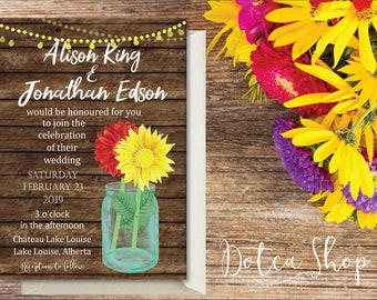 Printed | Wedding Suite | Sunflower gerbera daisy mason jar rustic country wedding | Economy shipping | Ask for custom changes!
