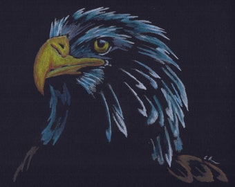 Print of Bald Eagle Colored Pencil Drawing