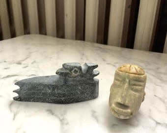 Set of Two Original Small Soapstone Stone Sculptures Hand Carved Native Canadian Animal Raven Bird Eagle and Skull Cap head African