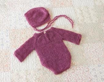 Newborn Romper, Long Sleeve Newborn Romper, Newborn Romper, Mohair Romper, Knit Newborn Outfit, Newborn Photo Prop