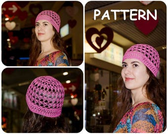 Rings Of Lace Beanie Crochet Pattern - Summer Crochet Hat Pattern - Retro Crochet Lace Pattern - DIY Women's Hat Crochet Graph Pattern