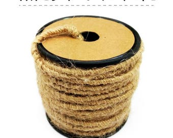 2.5~3.0mm Dia. Rustic Braid Wired Rope 13Yards Jute BRAID, Floral wrap, Gardening deco wire
