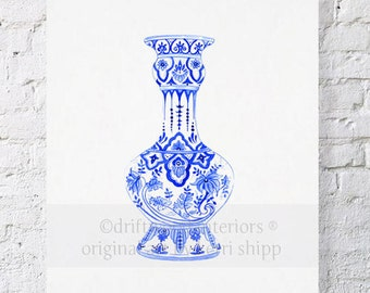 "Chinoiserie Ming Vase Giclee Print in Indigo Blue 11""x14"" - Ginger Jar Print - Chinoiserie Wall Art - Blue and White Art Print"
