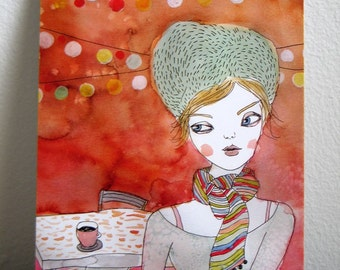 Coffee Nights Art Postcard girl art