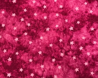 1 1/3 Yards of Vintage Fuchsia with Pink Stars Cotton Fabric