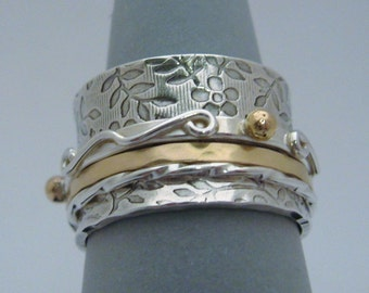 MADE TO ORDER - Twiddle Spinner Ring with Gold - Handmade Original