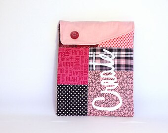 iPad cover, ipad sleeve, ipad case Pink design - Patchwork case