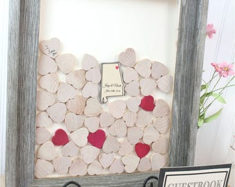 unique guestbook Drop top Wedding  book Drop box  Wedding Guest Book Alternative - Drop top guestbook with hearts to sign - Rustic guestbook