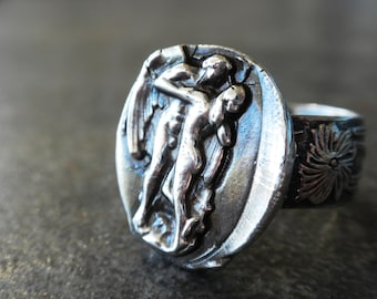 Valentine's Day Gift Statement Ring Silver Mythology Jewelry Romantic Eros and Psyche