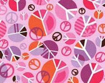 Pink Peace Signs Fabric