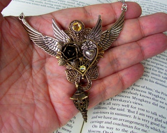 Double Winged Necklace (N800) Steampunk Inspired Design, Bronze Heart, Silver Wings, Gears and Lantern Pendant, Silver Plated Chain