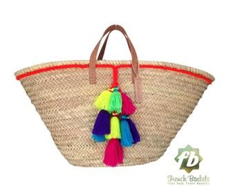Pompon en laine petit panier Français rouge: panier Français, marocain panier, sac en paille, français panier, sac de plage, sac de plage de gland