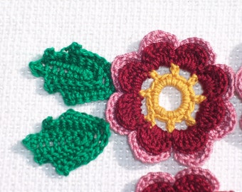 4 handmade thread crochet applique flowers with 8 leaves  --2516