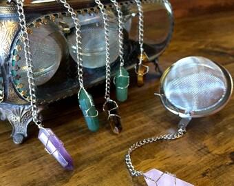 Summer Gift - Crystal Tea Infuser - Stainless Steel - Tea Maker - Tea Strainer - Tea Ball - Tea Steeper - Amethyst - Rose Quartz
