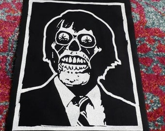 They Live Back Patch - Print, Screen Print, Punk, Patch, Stencil, Art, Horror, 1980s, Obey, Roddy Piper.
