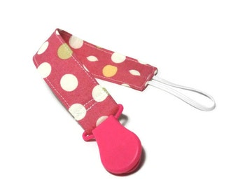 Pacifier Holder Clip Pink Dot Fabric with Pink Plastic Clip Girl Universal Paci/Teether Holder Clip Binky Clip Accessory