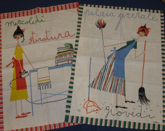 MILVIA TEA TOWELS All 7 Days of the Week Made in Italy for Saks Fifth Avenue 1959 Never Used
