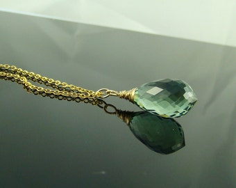 Green Amethyst pendant Necklace. Gold chain.  Greenery. Amethyst briolette solitaire. Gift February birthstone birthday