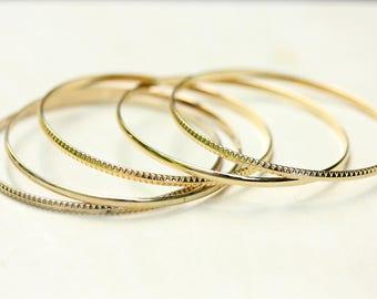 Gold Bangle Set, Gold Bangle, Striped Bangle, Plain Bangle, Gold Bangles, Thin Bangle, Thin Gold Bracelet, Gold Bracelet, Slide On Bracelet